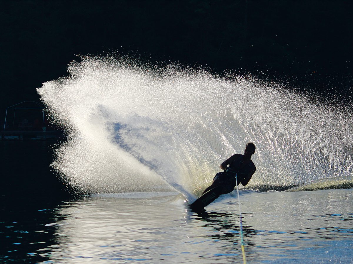 Making a Splash water photography - water ski in silhouette