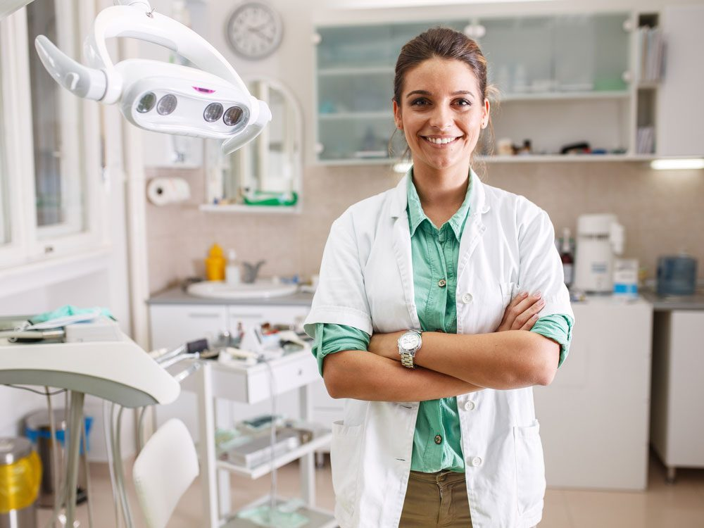 Attractive female dentist