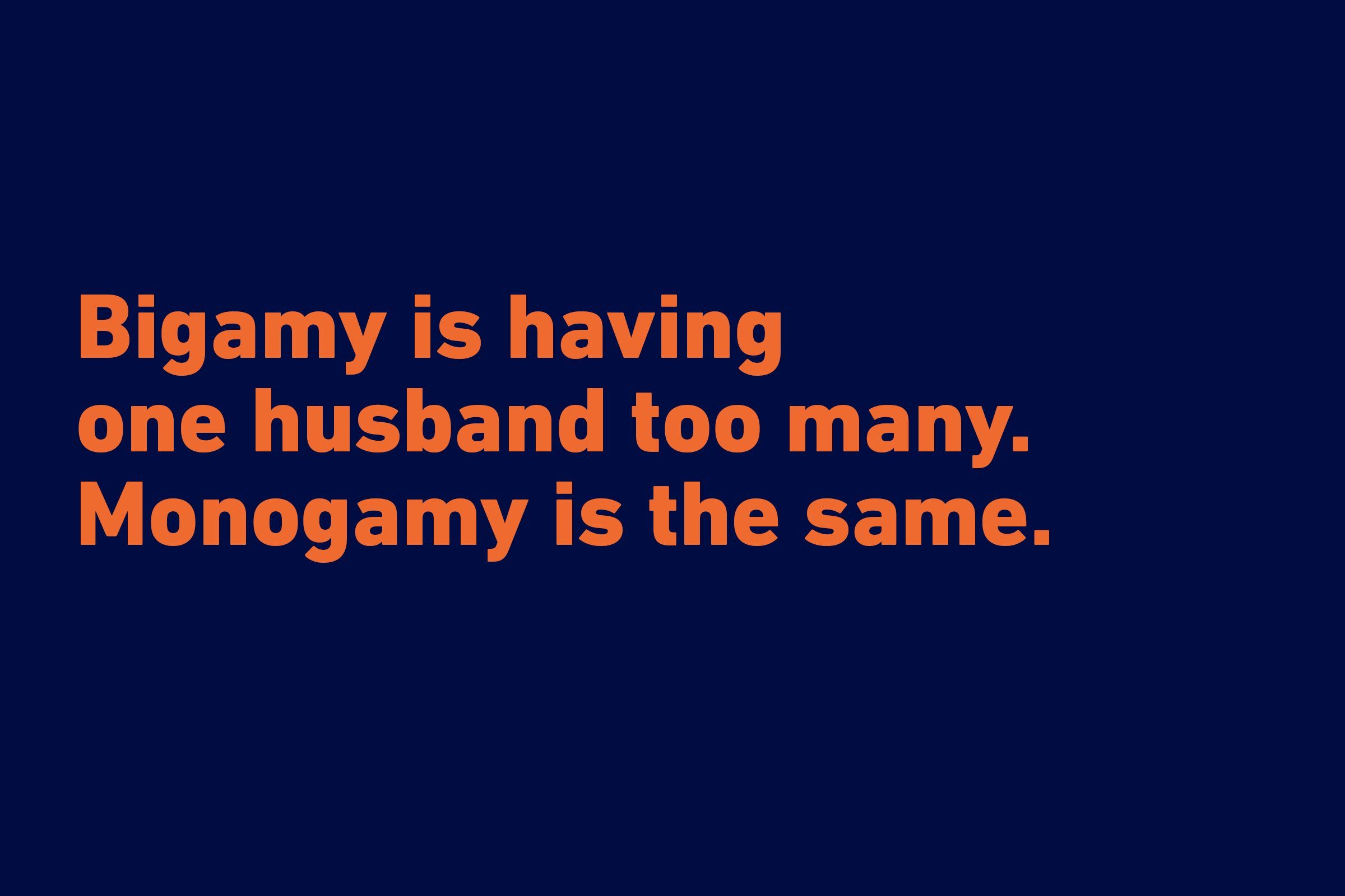 Wedding jokes about monogamy