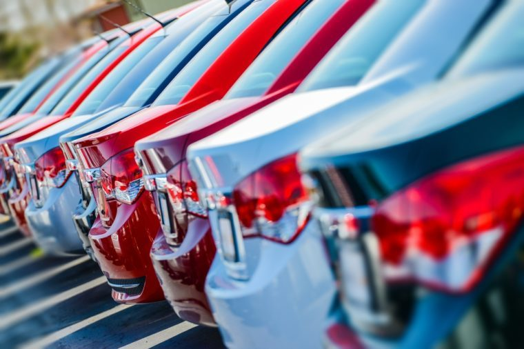 Unsold cars in a line