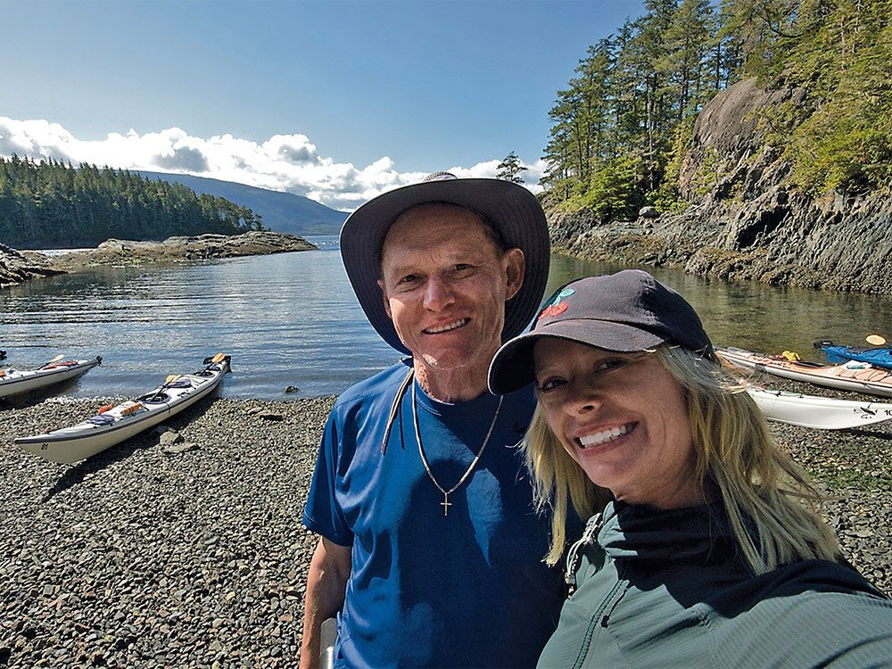 Pamela and Brian take a break in one of the peaceful coves on Hanson Island