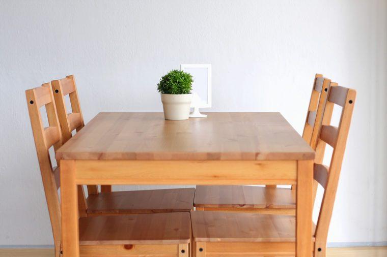 Wooden breakfast table