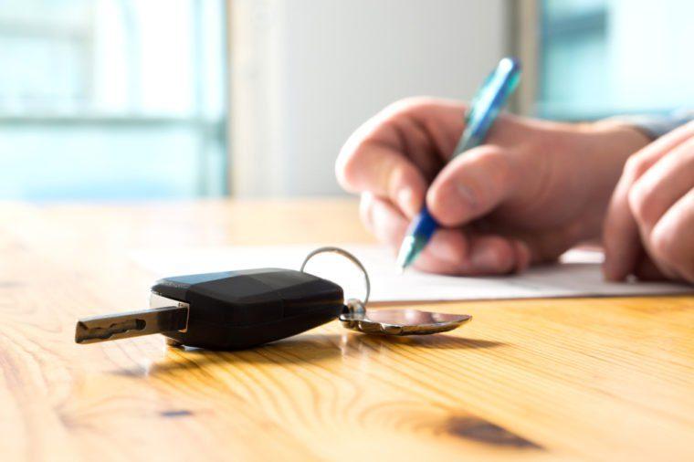 Car keys on kitchen table