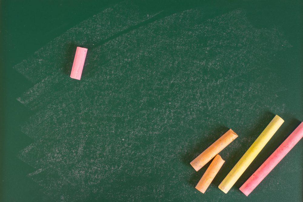 Chalk on chalkboard
