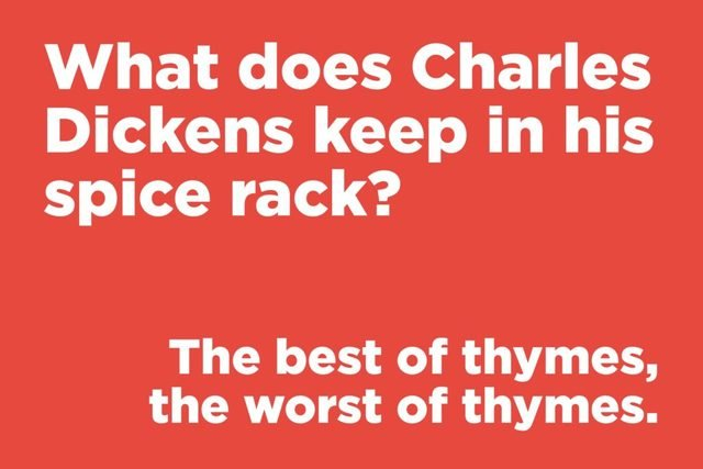 What does Charles Dickens keep in his spice rack?