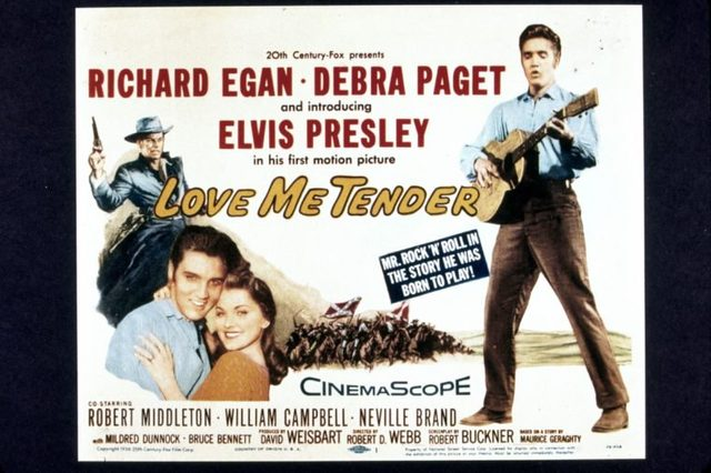 FILM STILLS OF 'LOVE ME TENDER' WITH 1956, ELVIS PRESLEY, ROBERT D WEBB, POSTER ART IN 1956 VARIOUS