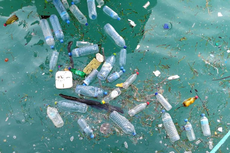 Floating garbage piles