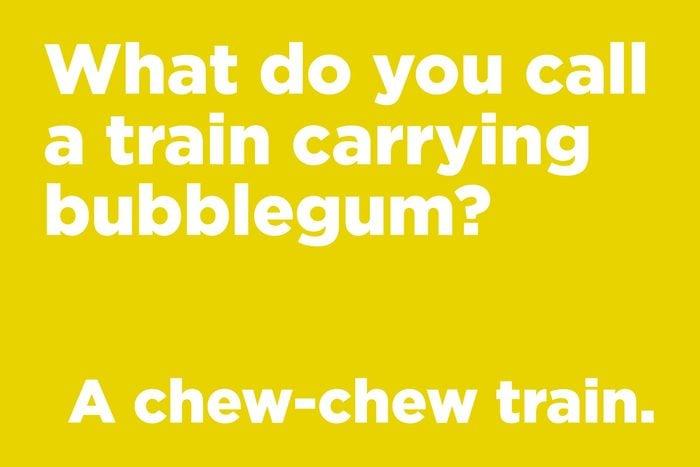 What do you call a train carrying bubblegum?