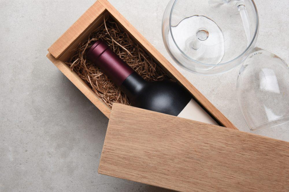 Red wine in wooden case