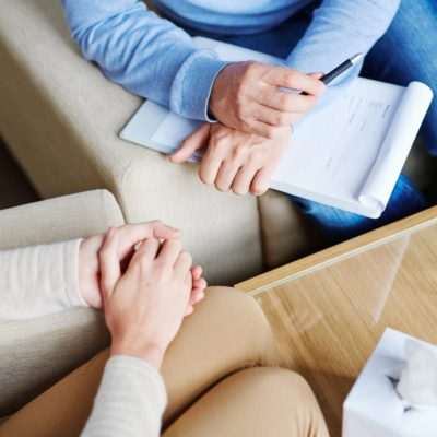 Therapist with patient