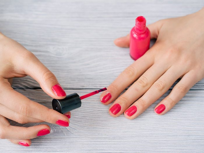 Cooking spray dries nails faster