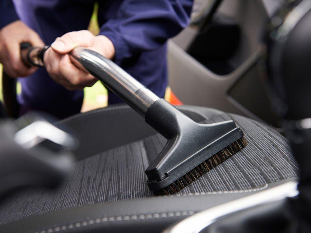 Vacuuming car seat