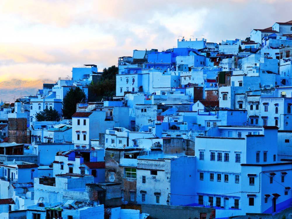 Blue-coloured architecture in Morocco