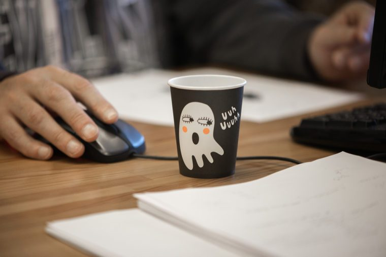 Halloween-themed coffee cup