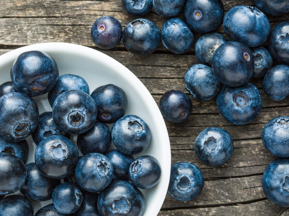 Blueberries on wooden table