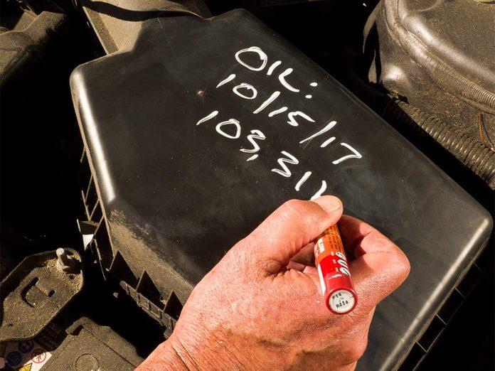 Oil change hack - chalk marker date