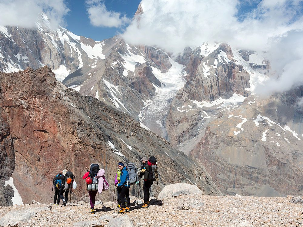 Group of hikers in South America
