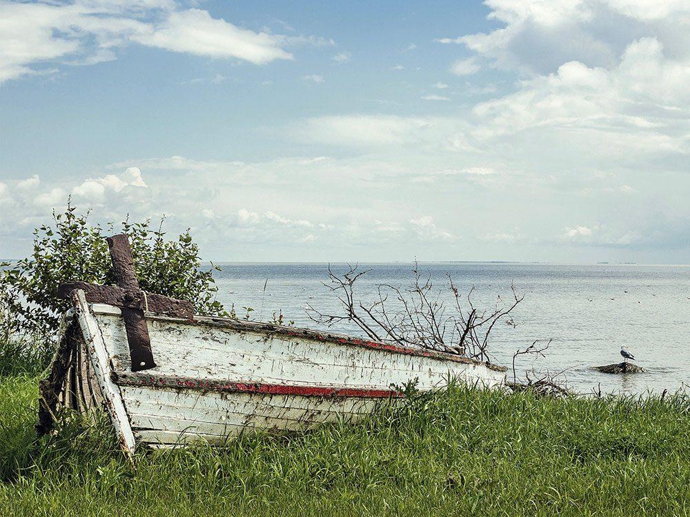 Broken canoe and anchor