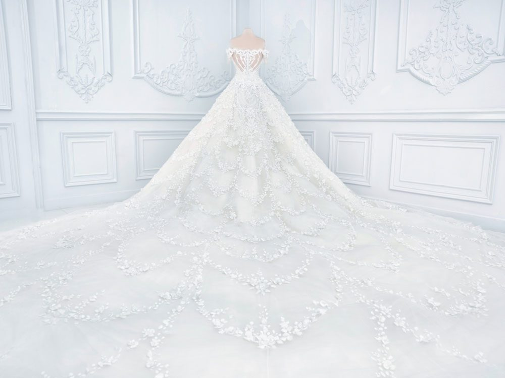 Wedding gown with large veil