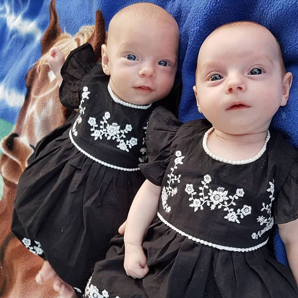 Twin baby sisters