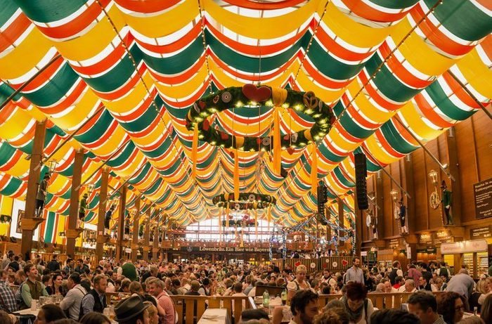 Munich, Germany- October 2, 2014: People drinking in the Hippodrom Beer Tent on the Theresienwiese Oktoberfest fair grounds
