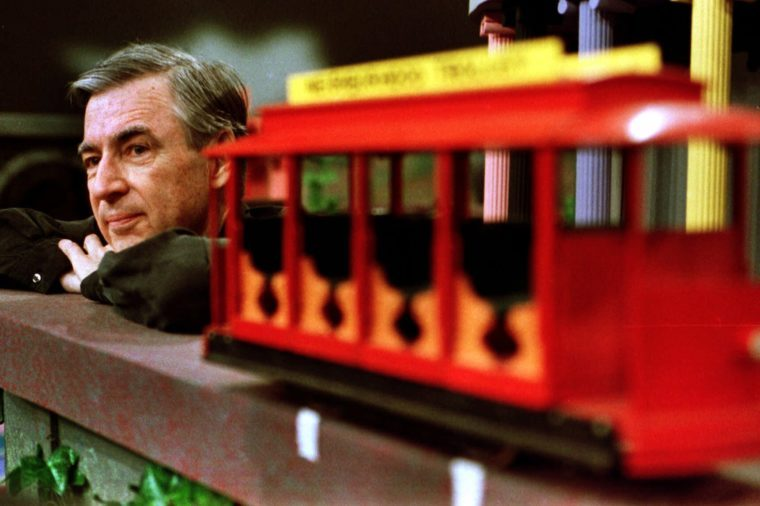 Mr. Rogers with toy train set