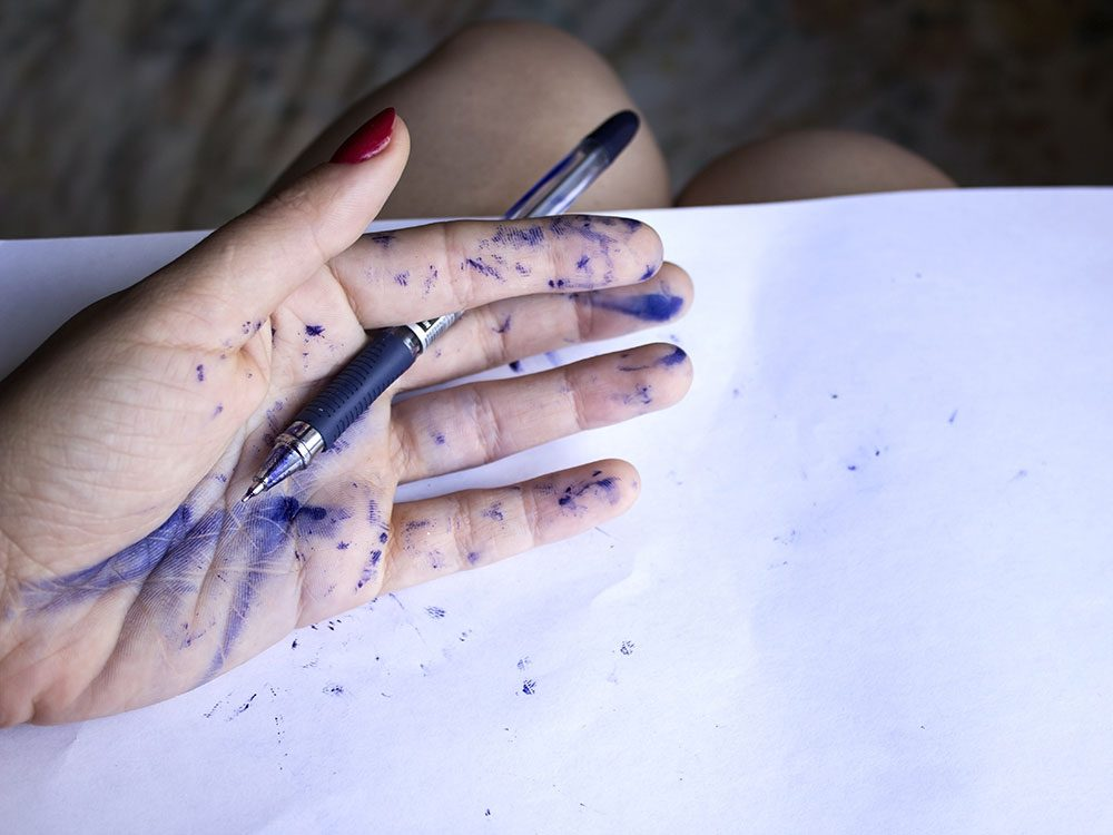 Use nail polish remover to eliminate ink stains