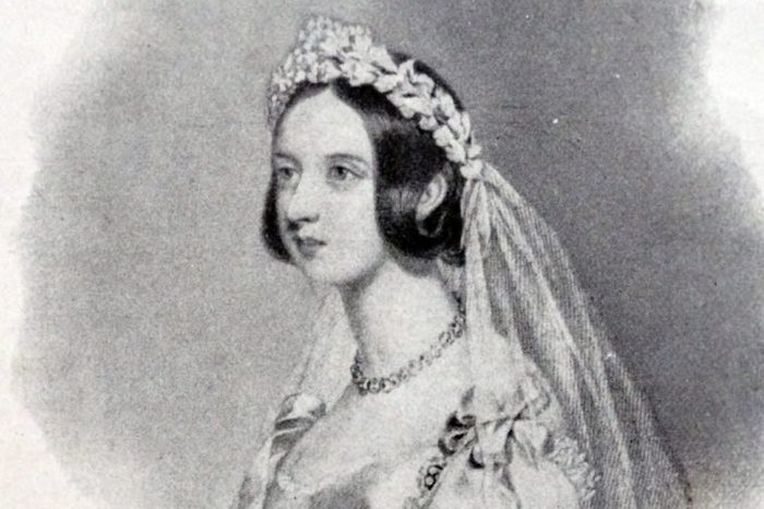 Queen Victoria of the United Kingdom in her bridal dress and veil before her wedding to Prince Albert, 1840.