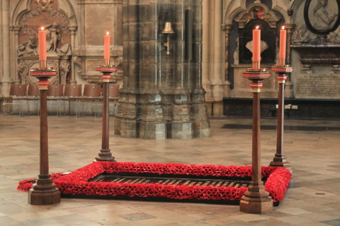 Grave of the Unknown Warrior at Westminster Abbey, London.