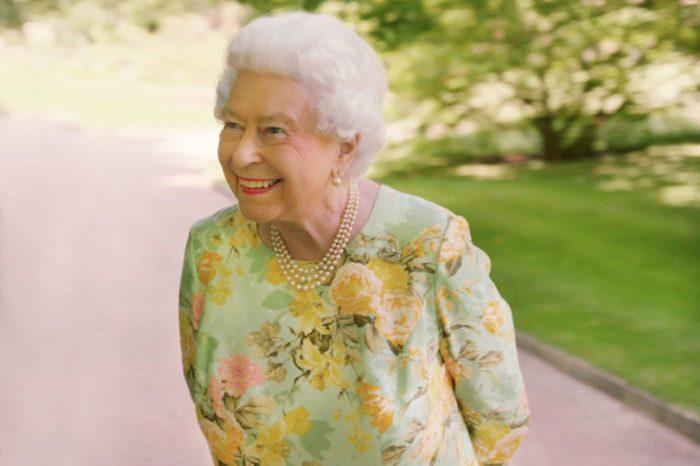 Queen Elizabeth II in the gardens of Buckingham Palace