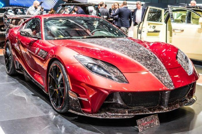 Geneva, Switzerland, March 06, 2018: metallic red Mansory the Stallone Ferrari 812 Superfast at 88th Geneva International Motor Show GIMS