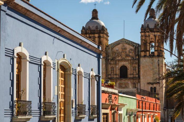 Colonial facades in the historic centre of Oaxaca, Mexico