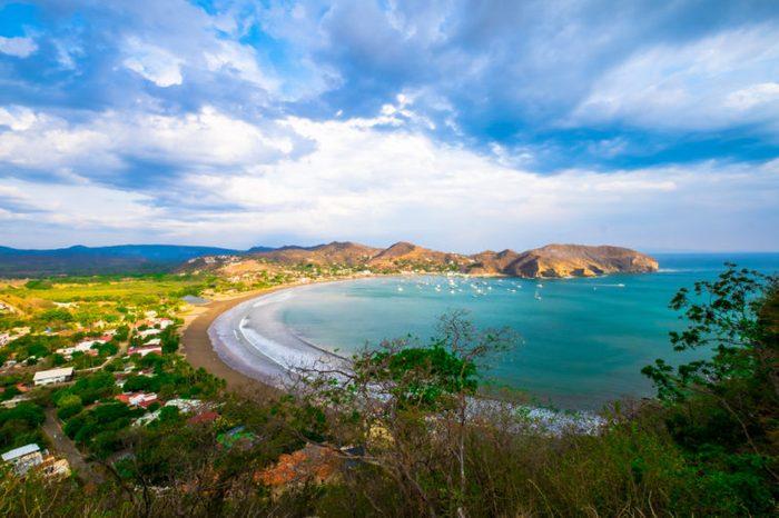 San Juan Del Sur Nicaragua Beach Beautiful View Sky Tourism Tourist Destination Pacific Ocean Rocks Rain Forest Jungle Tourist Tourism Destination Tropical Paradise Travel Outdoor Landscape Backround