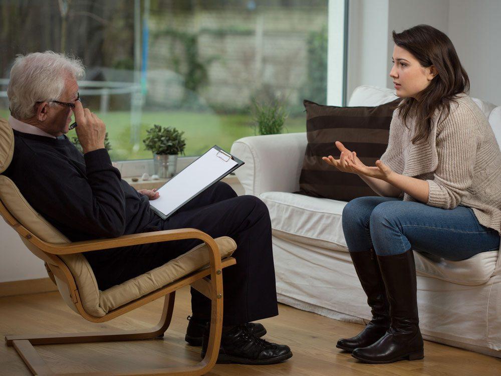 Elderly male psychologist