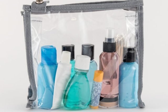 Travel Toiletries in Clear Plastic Bag