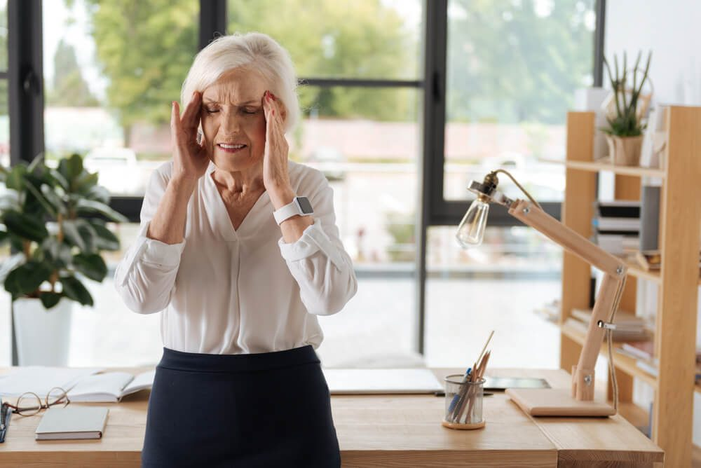 Stressed senior woman