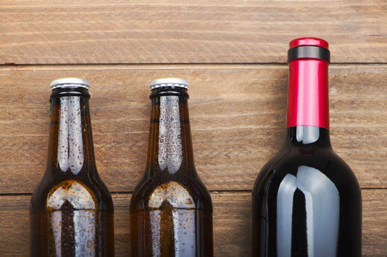 Imported beer bottles