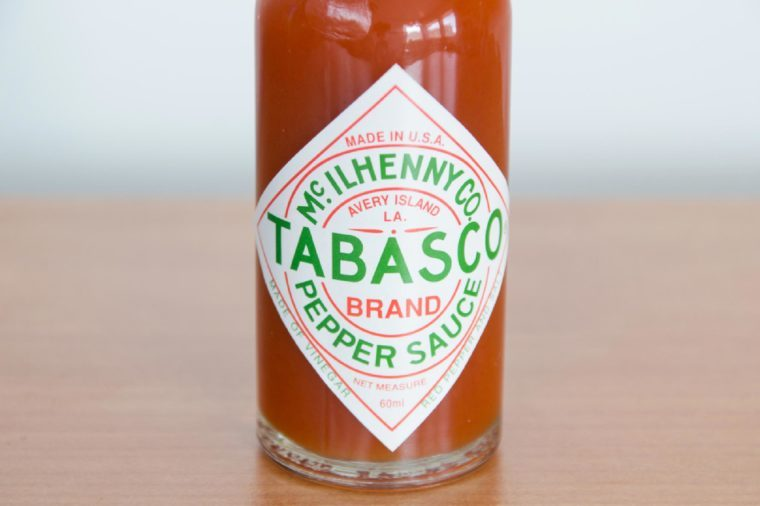 Close-up of bottle of Tabasco