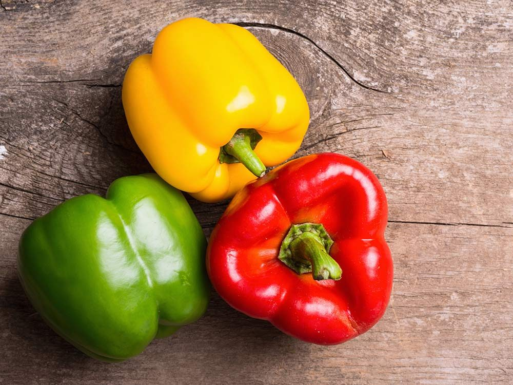 Red, green and yellow bell pepper