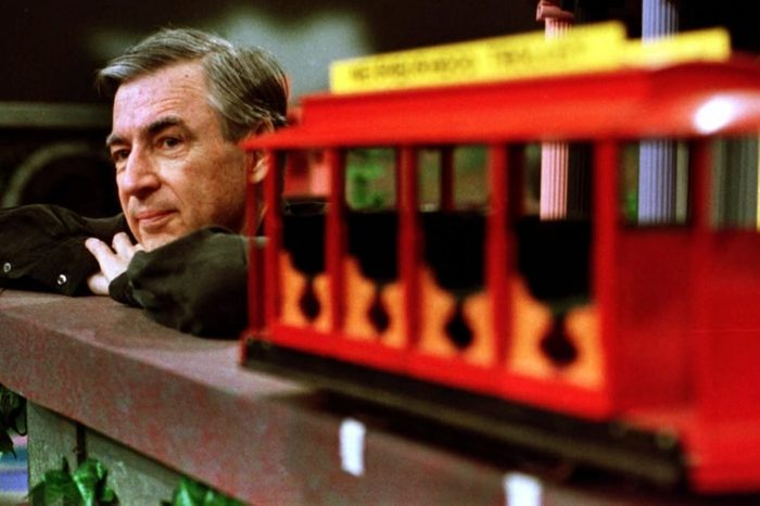 """FRED ROGERS Fred Rogers pauses during a taping of his show """" Mister Rogers' Neighborhood,"""" in Pittsburgh"""