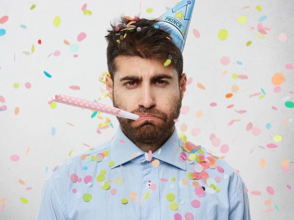 Grumpy man on his birthday