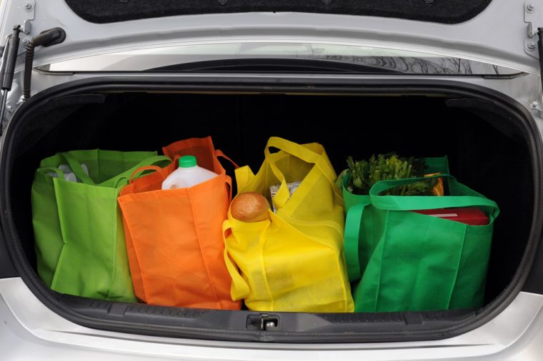 Groceries in trunk of car