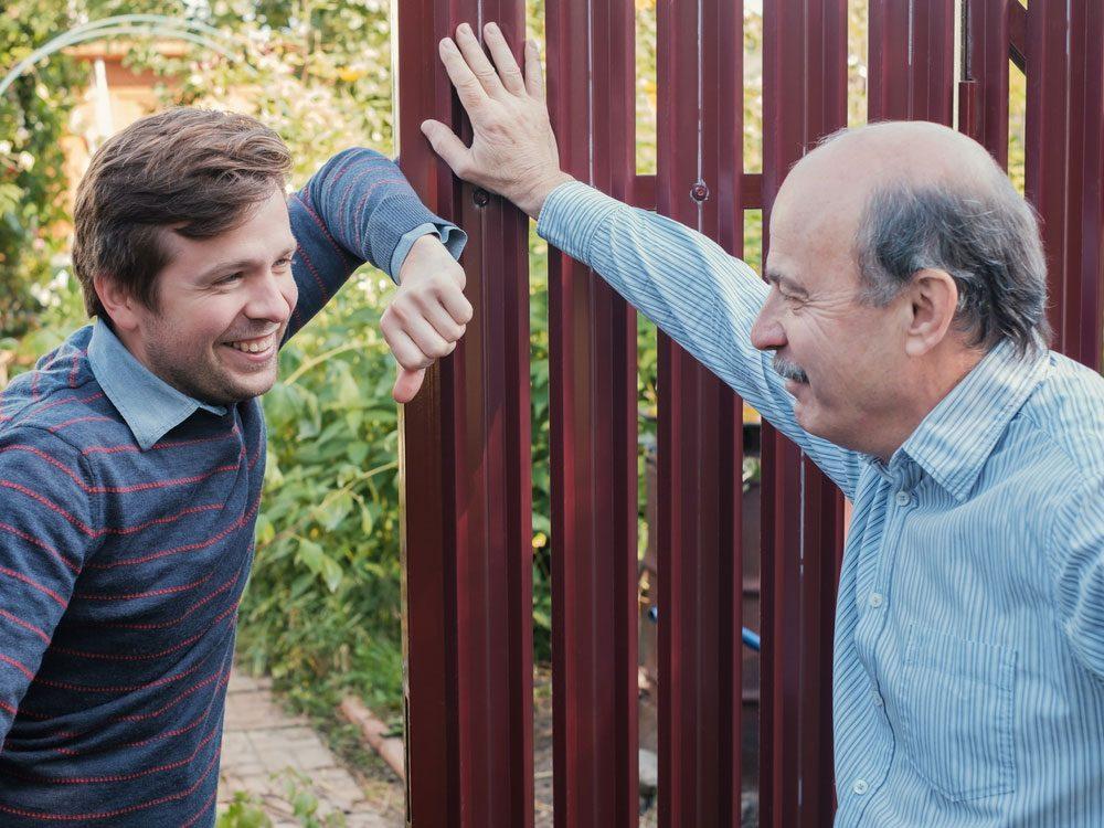 Next-door neighbours talking