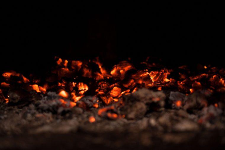 Hot, glimmering coals