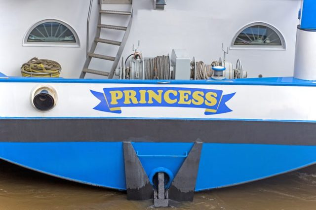 Princess yacht's name, close up