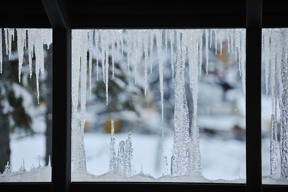 Icicles forming on window