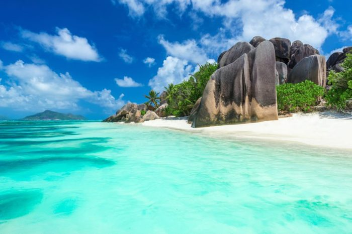 Granite Rocks at beach on island La Digue in Seychelles - Anse Source d'Argent