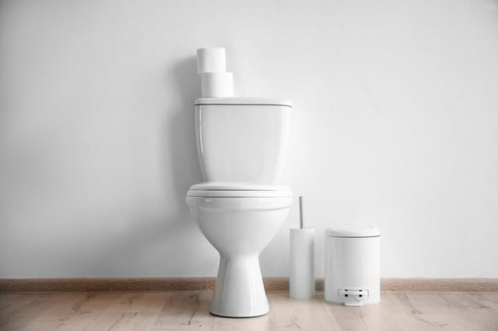 New ceramic toilet bowl in modern bathroom