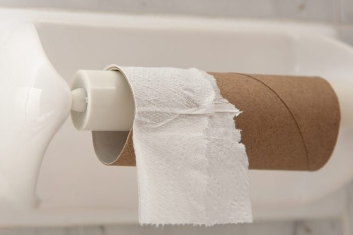 Empty roll of toilet paper mounted on a tiled wall