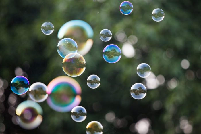 Soap Bubbles in front of the forest